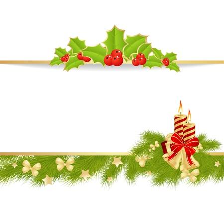 weihnachten tanne: Weihnachtskarte Hintergrund mit Spielzeug. Abbildung. Illustration