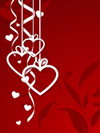 Elegant floral-pattern red background.  illustration.