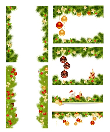 Set of christmas background with toys  Vector illustration  Ilustração