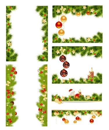 christmas border: Set of christmas background with toys  Vector illustration  Illustration