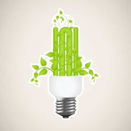 power saving lamp: Paper sticker of floral power saving lamp. Vector illustration. Illustration