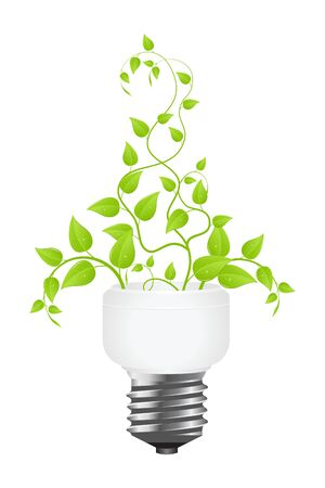 power saving lamp: Floral power saving lamp. Isolated on white background. Vector illustration.