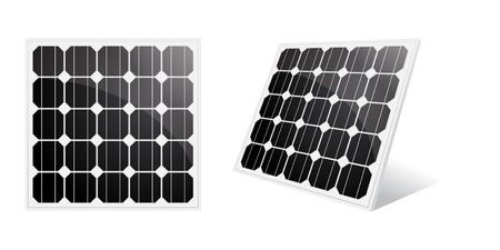 Solar panel isolated on a white.  Vector