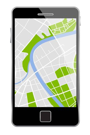 smartphone with map  Stock Vector - 17597655
