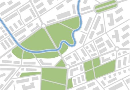 町の編集可能な道路地図。  イラスト・ベクター素材