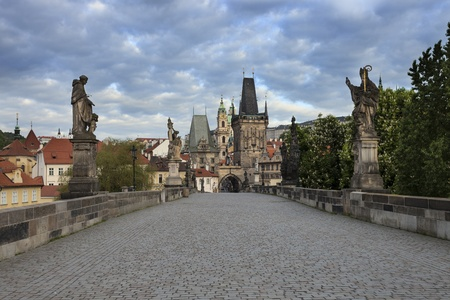 Charles Bridge and Prague Castle in the morning