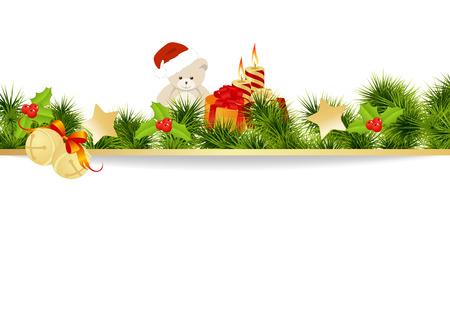 Kerstkaart achtergrond met speelgoed. Vector illustratie.
