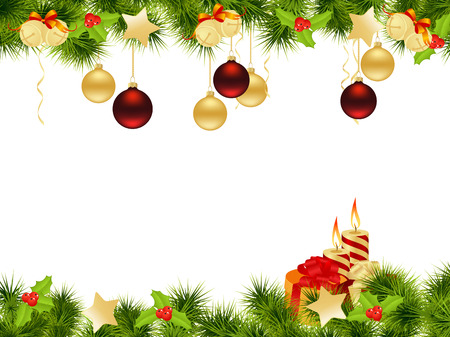 christmas border: Christmas background with decorations and candles. Vector illustration.