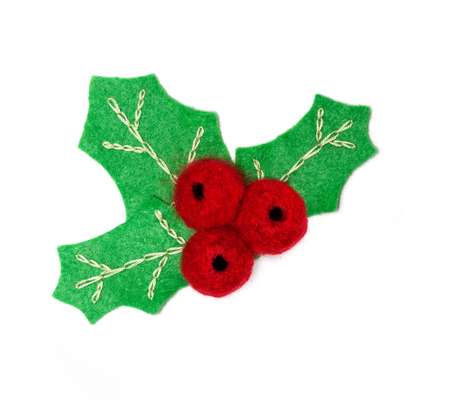 hollyberry: Felt hollyberry -  symbol of christmas isolated on a white background. Stock Photo