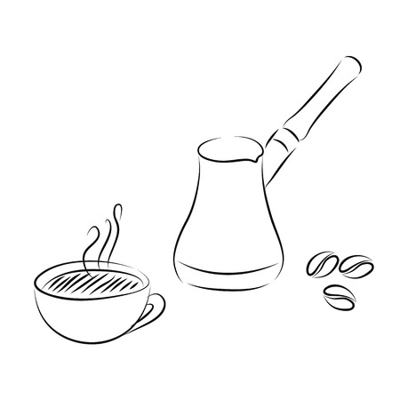 cezve: Sketch of coffee accessories.  Illustration