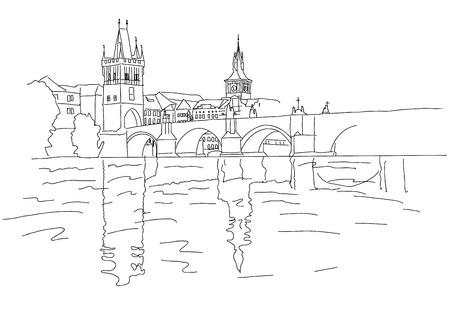 charles bridge: Charles Bridge in Prague. Sketch.  Illustration