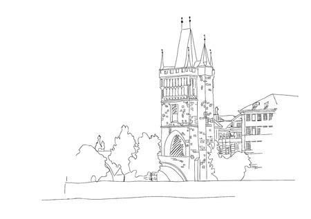 Charles Bridge in Prague. Sketch.  Ilustrace
