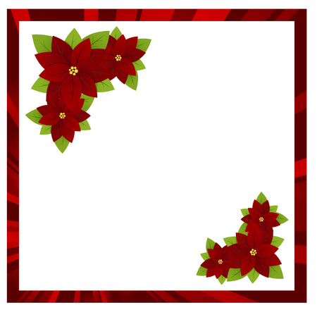 Christmas white background with red frame and flowers poinsettia. Vector illustration. illustration