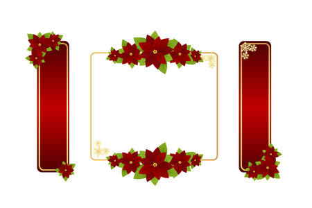 Christmas red frames with poinsettia and snowflakes. Vector illustration. illustration