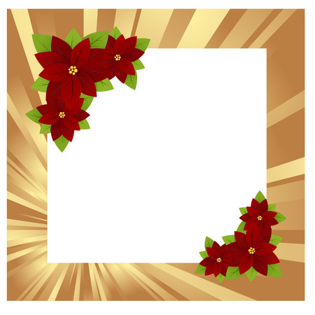 Christmas gold frame with poinsettia. Vector illustration. Vector