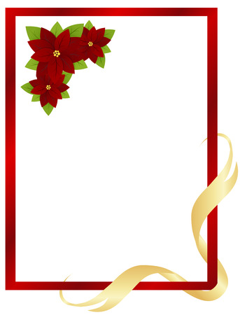 Christmas red frame with poinsettia and ribbon. Vector illustration. Vector