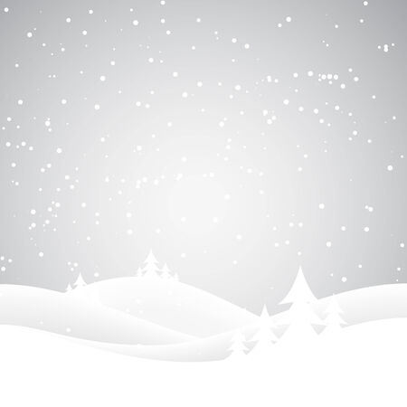 snow field: Snow covered wintery scene Snow falling over a fir tree forest