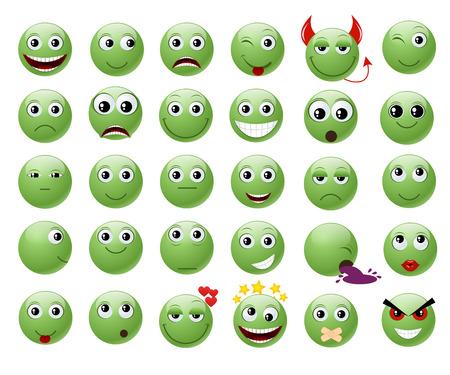 cara triste: Conjunto de emoticonos verdes. Vectores