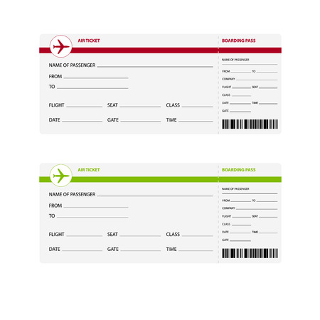 Blank plane tickets for business trip travel or vacation journey isolated vector illustration Vettoriali
