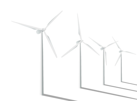 Wind turbines in the field. Vector illustration.