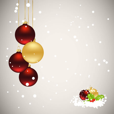 hollyberry: Christmas card with decorations.  Illustration