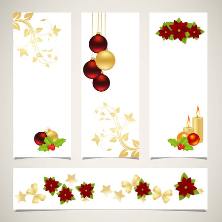 Templates for christmas banners with decorations.  Vector