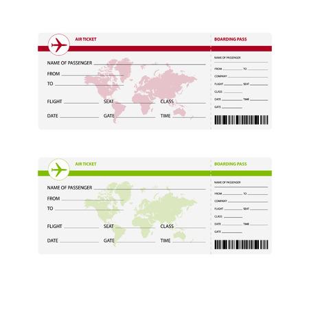 viaje de negocios: Billetes de avi�n en blanco para viajes viaje de negocios o viaje de vacaciones, ilustraci�n, Vectores