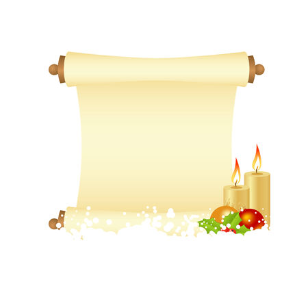 hollyberry: Christmas manuscript with decorations and candles.