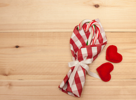 candy hearts: Table decorations for christmas: napkin, candies and hearts