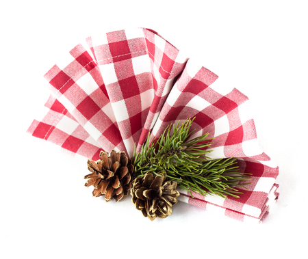 Table decorations for christmas - napkin and pine cones photo