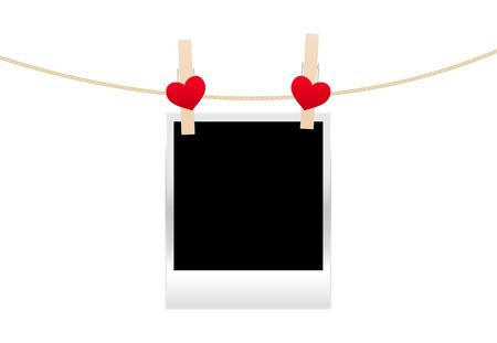 Vintage photos frame on the clothespin with hearts. Vector illustration. Vector