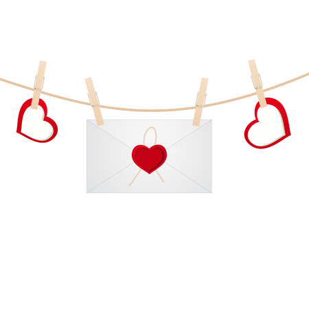 Envelope on the clothespin with hearts. Vector illustration. Vector