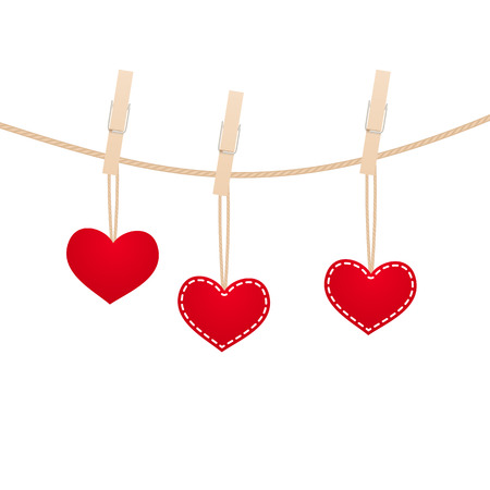 Red hearts with clothespin hanging on clothesline isolated on white background. Vector illustration.