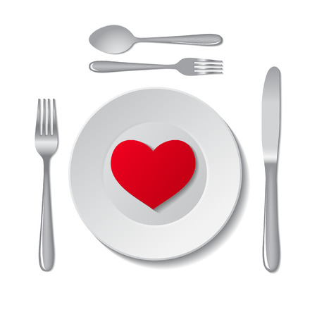 Red heart on plate on white background. Vector illustration. Vector