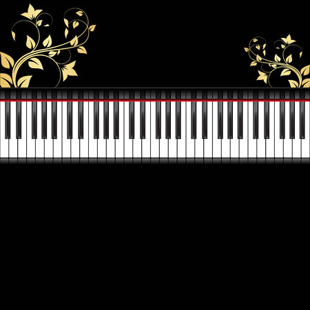 keyboard music: Black piano decorated by gold floral ornament. Background with place for text. Illustration