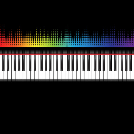 keyboard keys: Piano keyboard and abstract music inspired graphic equalizer background with rainbow colours. Vector illustration.
