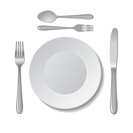 fork and spoon: White empty plate with fork, spoon and knife on a white background. Vector illustration.