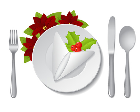 Napkin and christmas decorations on plate on white background. Vector illustration.