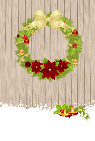hollyberry: Christmas wreath on wooden background. Vector illustration.