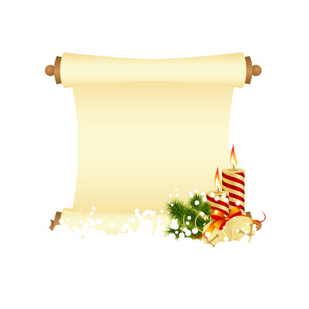 hollyberry: Christmas greeting card with decorations - candle and bells. Vector illustration.