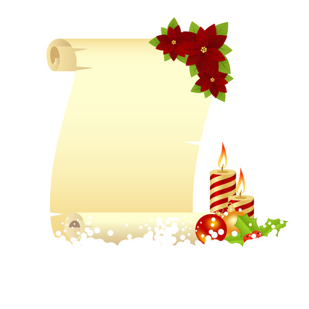 Christmas greeting card with decorations - poinsettia, candle, balls and holly. Vector illustration. Vector