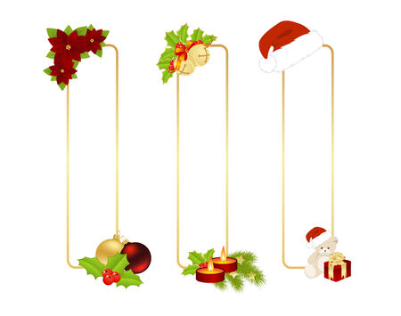 Christmas labels with christmas decorations. Vector illustration. Vector