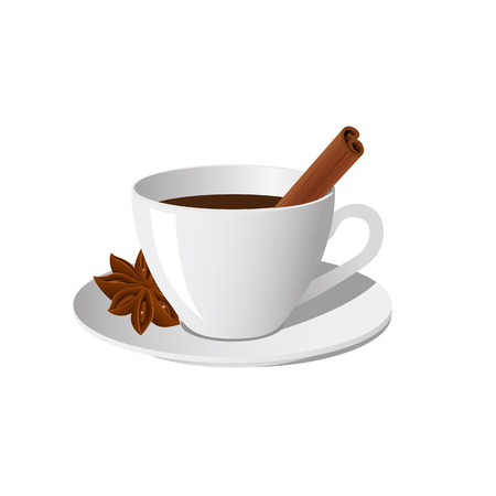star anise: Cup of coffee with cinnamon and star anise isolated on white background. Vector illustration. Illustration