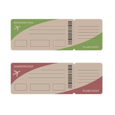 viaje de negocios: Billetes de avi�n en blanco para viajes viaje de negocios o vacaciones viaje aislado ilustraci�n vectorial Vectores