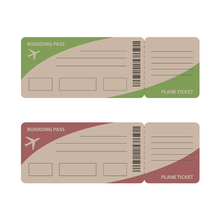 design template: Blank plane tickets for business trip travel or vacation journey isolated vector illustration Illustration