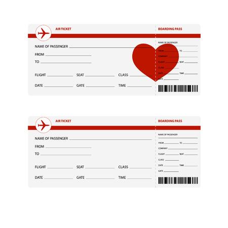 billets d avion: Billets d'avion vierges pour voyage romantique isol� sur fond blanc. Vector illustration
