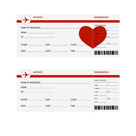 plane tickets: Blank plane tickets for romantic trip isolated on white background. Vector illustration