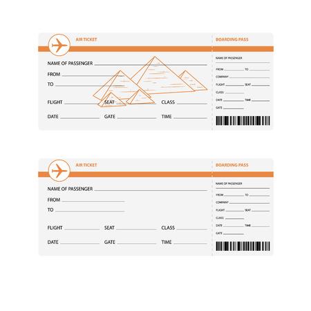 billets d avion: Billets d'avion vierges pour voyage en Egypte isol�e illustration vectorielle