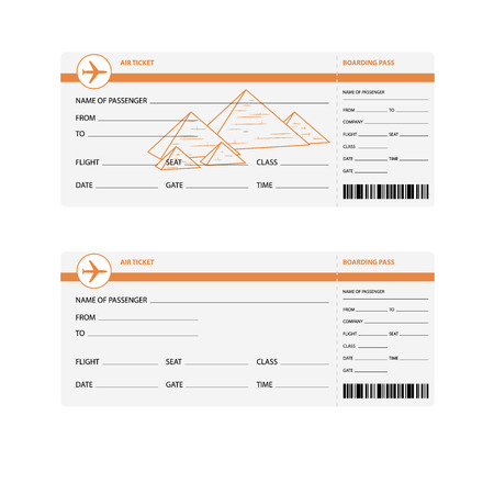 plane tickets: Blank plane tickets for trip to Egypt isolated vector illustration
