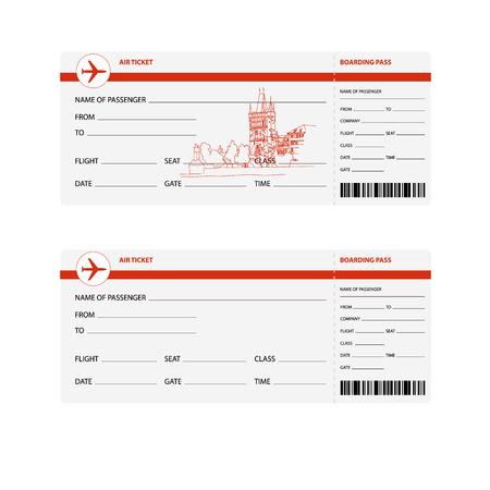 billets d avion: Billets d'avion vierges pour voyage � Prague isol�e illustration vectorielle